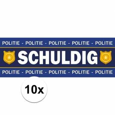 10 x schuldig stickers voor politie agent verkleedkleding