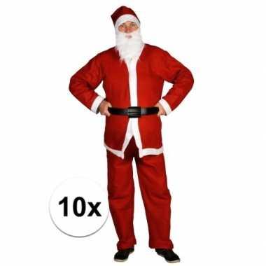 10x voordelige santa run kerstman verkleedkledings voor volwassenen