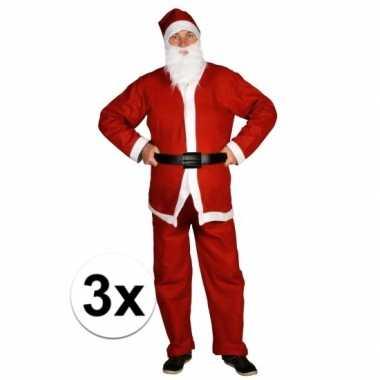 3x voordelige santa run kerstman verkleedkledings voor volwassenen