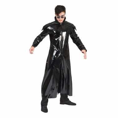 90s verkleedkleding gothic lakleren jas voor volwassenen