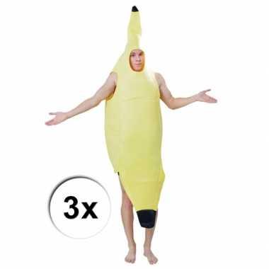 Bananen verkleedkledings 3 x voor volwassenen
