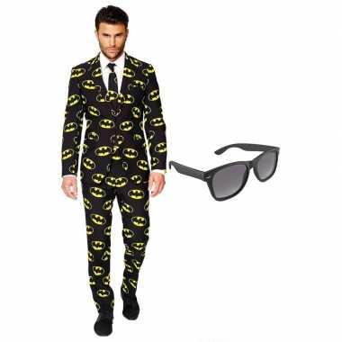 Batman heren verkleedkleding maat 56 (xxxl) met gratis zonnebril