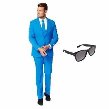 Blauw heren verkleedkleding maat 48 (m) met gratis zonnebril