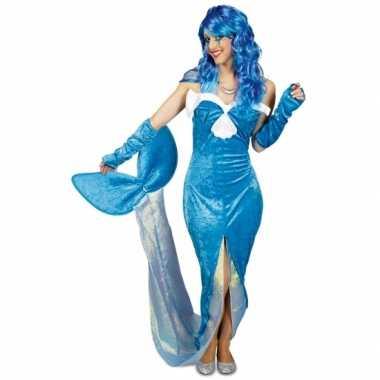 Blauw zeemeermin verkleedkleding voor dames