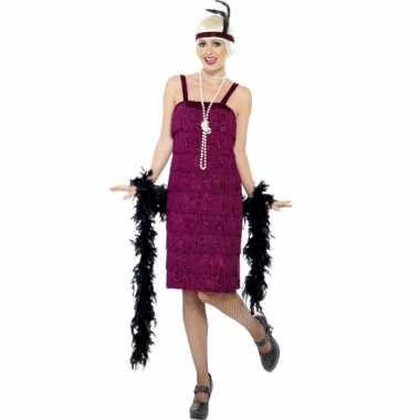 Bordeaux rood flapper jurkje verkleed verkleedkleding voor dames