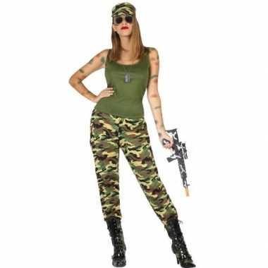 Camouflage soldaat verkleed pak/verkleedkleding voor dames