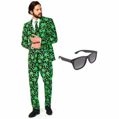 Cannabis print heren verkleedkleding maat 54 (xxl) met gratis zonnebr