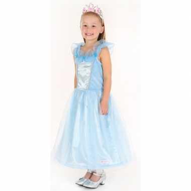 Carnaval verkleedkleding prinses blauw meisjes