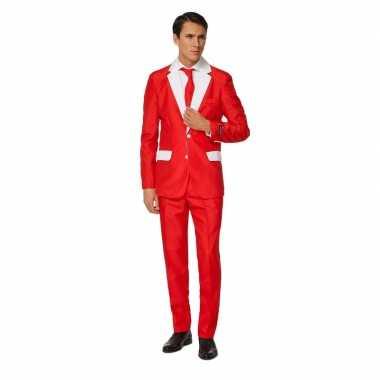 Carnavals heren pak kerstman verkleedkleding print