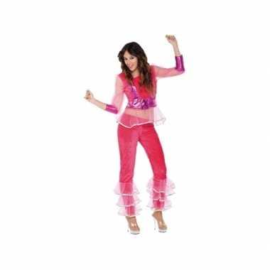 Carnavalsverkleedkleding disco roze voor dames