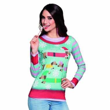 Carnavalsverkleedkleding kerstprint dames shirt 10075237