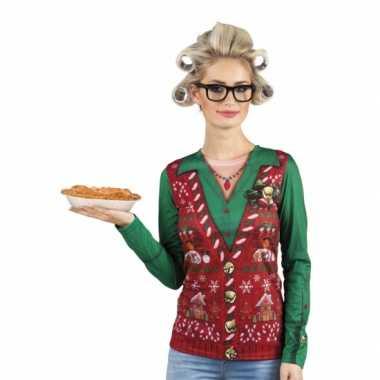 Carnavalsverkleedkleding kerstprint dames shirt
