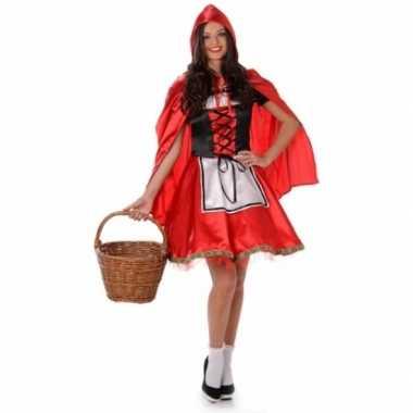 Carnavalsverkleedkleding roodkapje voor dames