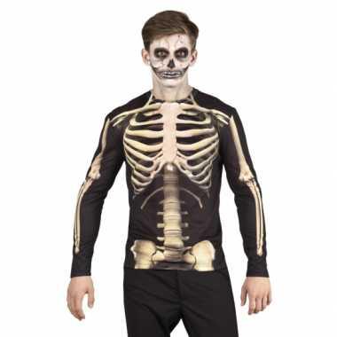 Carnavalsverkleedkleding skelet heren shirt