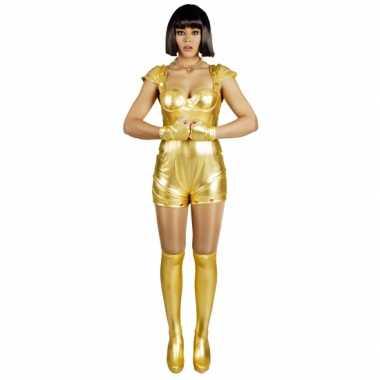 Carnavalsverkleedkleding spacegirl goud voor dames