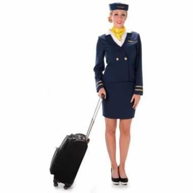 Carnavalsverkleedkleding stewardess blauw