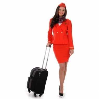 Carnavalsverkleedkleding stewardess rood