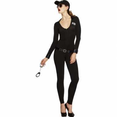 Compleet fbi verkleedkleding voor dames zwart