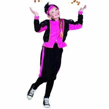 Compleet fuchsia pieten verkleedkleding voor meisjes