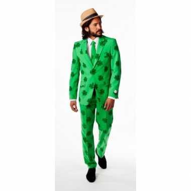 Compleet heren verkleedkleding met klaver print