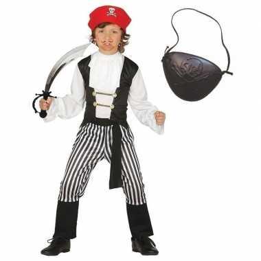Compleet piraten verkleedkleding maat 128 134 voor kinderen