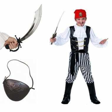 Compleet piraten verkleedkleding maat m voor kids