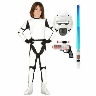 Compleet space trooper verkleedkleding maat 122 134 voor kinderen