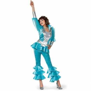 Dames disco verkleedkleding blauw/zilver