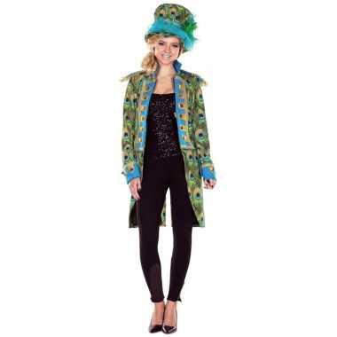 Dames pauwenprint verkleedkleding jas