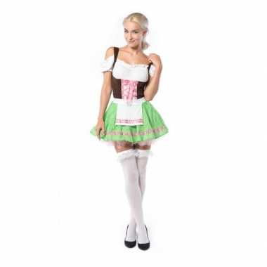 Dames tiroler verkleedkleding groen/roze