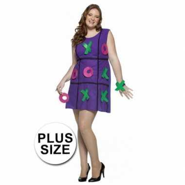 Dames verkleedkleding jurk paars plus size