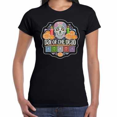 Day of the dead / dag van de doden halloween verkleed t shirt / verkleedkleding zwart voor dames
