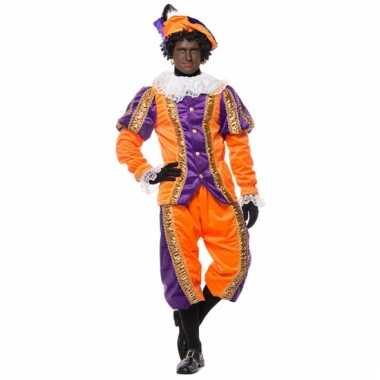 Deluxe pieten verkleedkleding paars met oranje