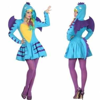 Dierenpak blauwe draak verkleed verkleedkleding/jurk voor dames