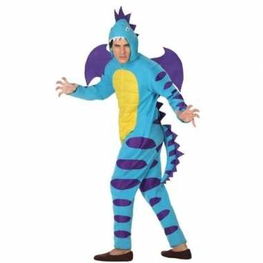 Dierenpak blauwe draak verkleedverkleedkleding voor volwassenen