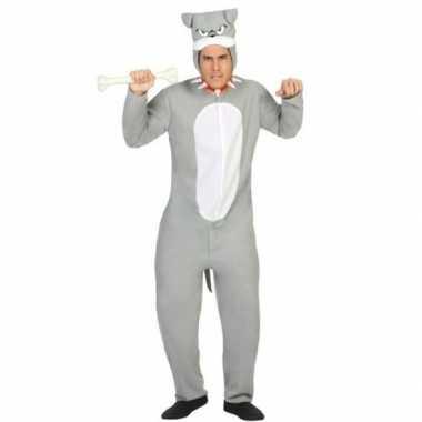 Dierenpak pit bull hond verkleed verkleedkleding grijs voor volwassen
