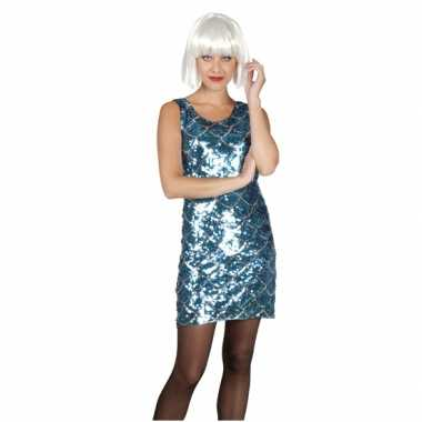 Disco verkleedkleding blauw en zilver met pailletten