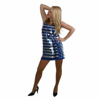 Disco verkleedkleding kort blauw en zilver met pailletten