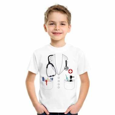 Doktersjas verkleedkleding t-shirt wit voor kinderen
