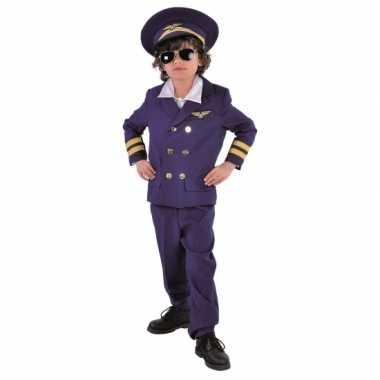 Donkerblauw piloten verkleedkleding voor kids