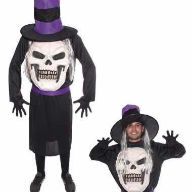 Doodskop halloween met hoed verkleedkleding voor heren
