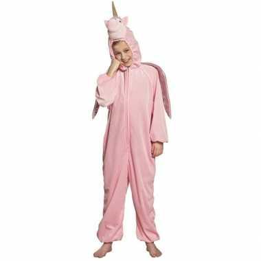 Eenhoorn dieren onesie/verkleedkleding voor kinderen roze