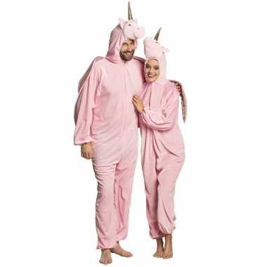 Eenhoorn dieren onesie/verkleedkleding voor volwassenen roze