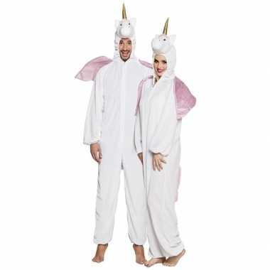 Eenhoorn dieren onesie/verkleedkleding voor volwassenen wit