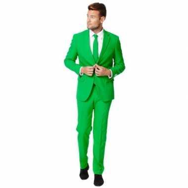 Fel groen verkleedkleding pak voor heren