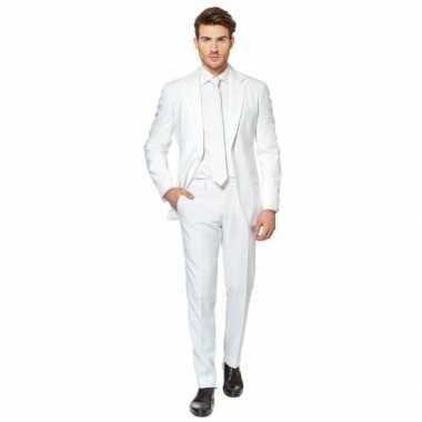 Fel wit verkleedkleding pak voor heren