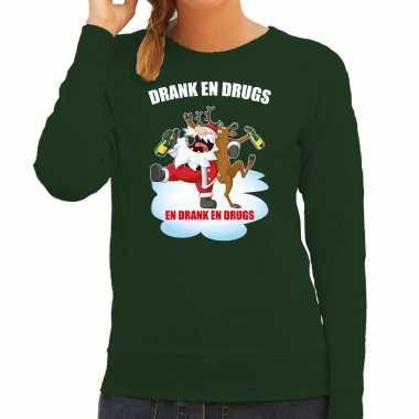 Foute kerstsweater / verkleedkleding drank en drugs groen voor dames