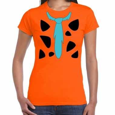 Fred holbewoner verkleedkleding t shirt oranje voor dames