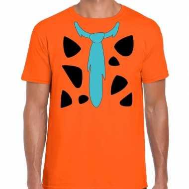 Fred holbewoner verkleedkleding t shirt oranje voor heren