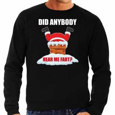 Fun kerstsweater / verkleedkleding did anybody hear my fart zwart voor heren
